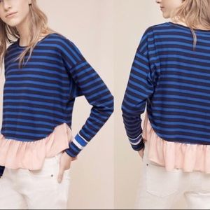 ANTHRO RUFFLED RUGBY PULLOVER